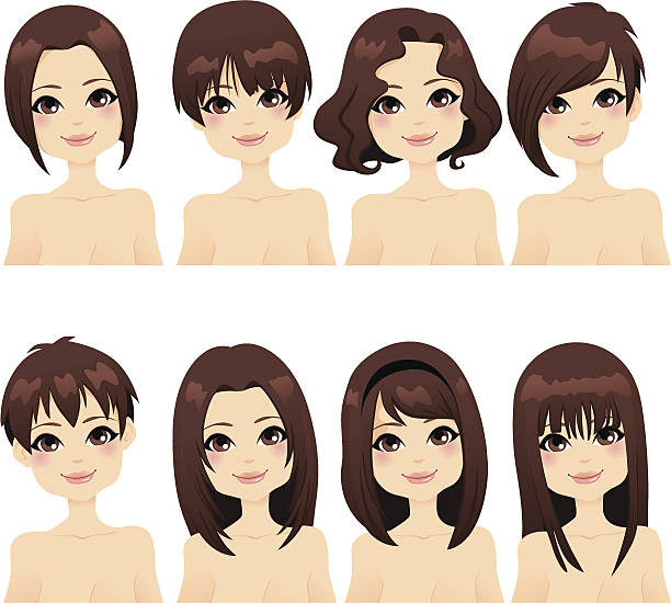 Hairstyle Fashion Collection Beautiful girl with collection of different hairstyle fashion bangs stock illustrations