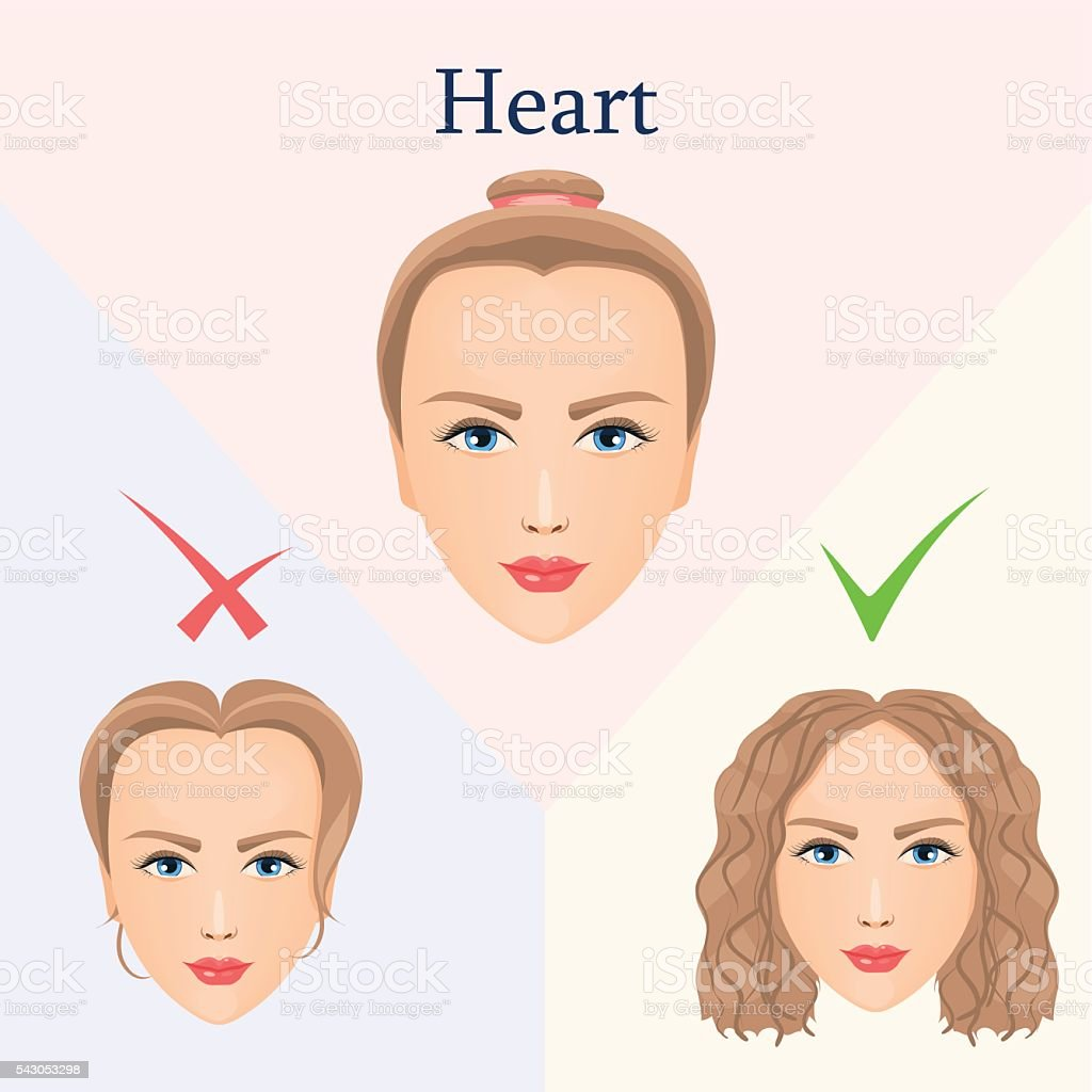 hairstyle for heart face stock vector art & more images of