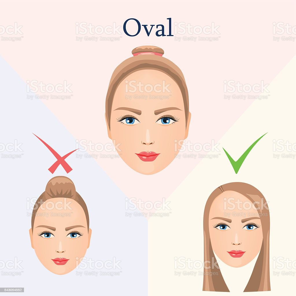 Hairstyle For Oval Face Stock Vector Art More Images Of Arts