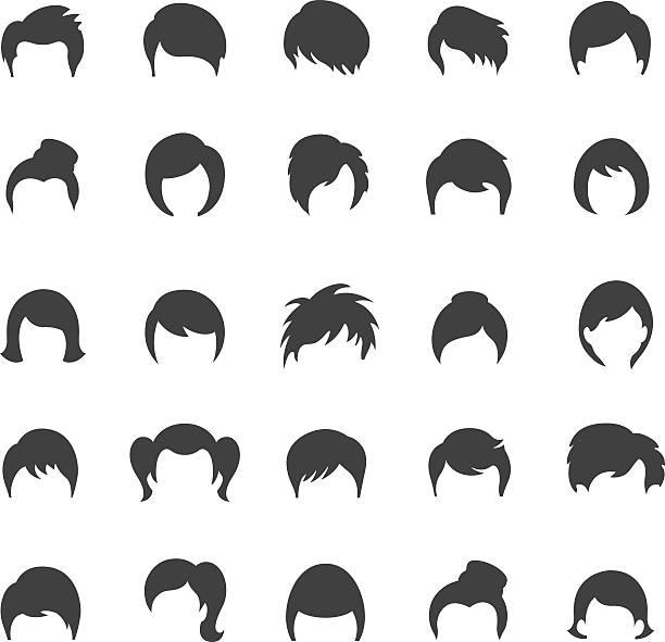ilustraciones, imágenes clip art, dibujos animados e iconos de stock de icono de estilo - peinado