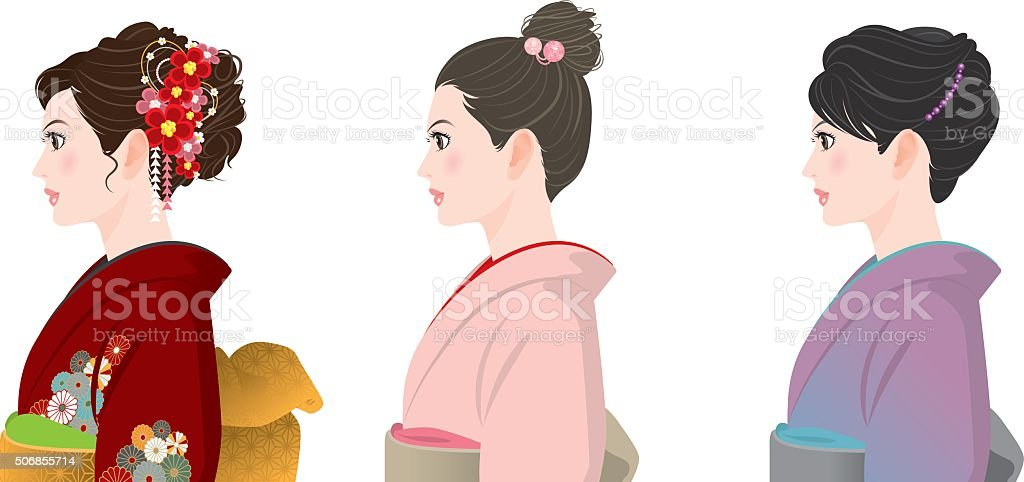 Hairstyle / KIMONO vector art illustration