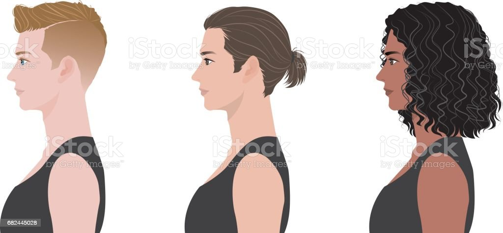 Hairstyle of the man vector art illustration