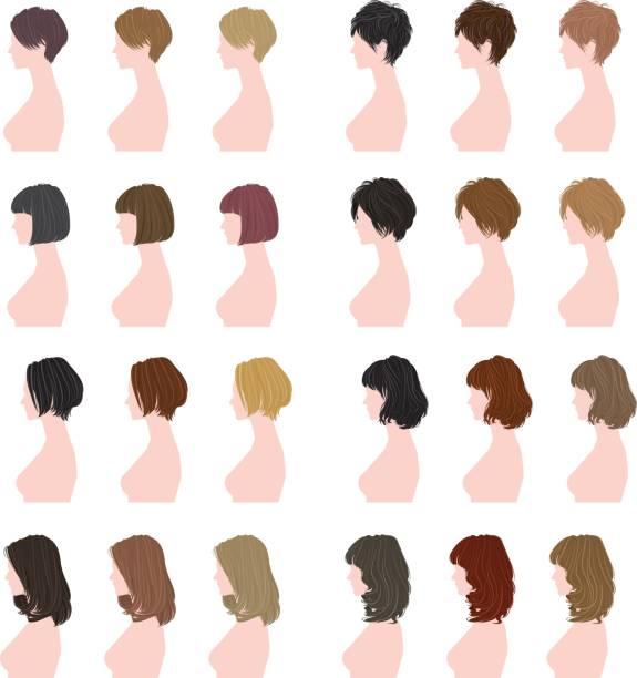 여자의 헤어스타일 - 파마 stock illustrations