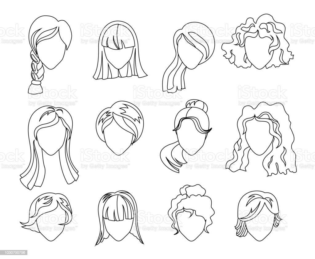Vector Conjunto De Silueta De Mujer Con Peinado Ilustracin De