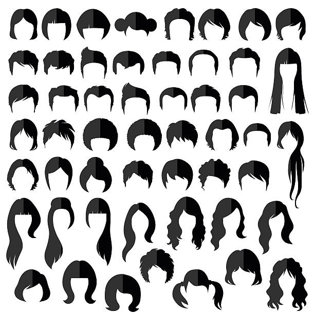 hairstyle silhouette vector art illustration