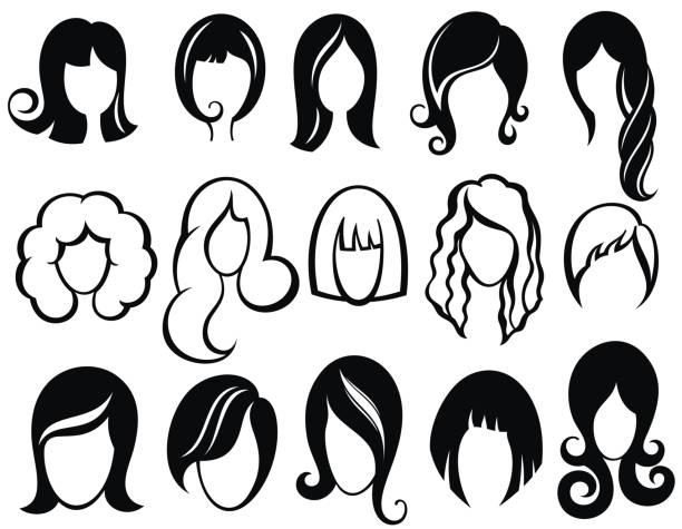 헤어스타일 실루엣입니다. 여자, 여자, 여성 탈모입니다. 아름다움 벡터가 발 기호 - 가발 stock illustrations