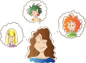 Girl dreaming of a new hairstyle and a new hair color. Brown-haired girl with wavy hair. Options hairstyles: curly redhead, blonde straight hair and punk with green hair.