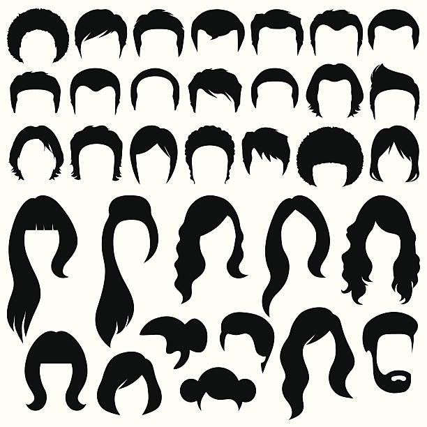 hairstyle hair silhouettes, woman and man hairstyle hair stock illustrations