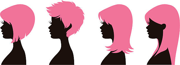 hairstyles 1 - hairstyle stock illustrations, clip art, cartoons, & icons