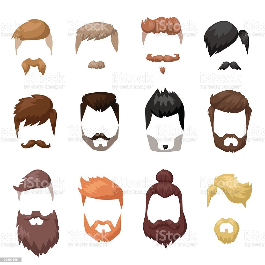 Hairstyles beard and hair face cut mask flat cartoon collection vector art illustration