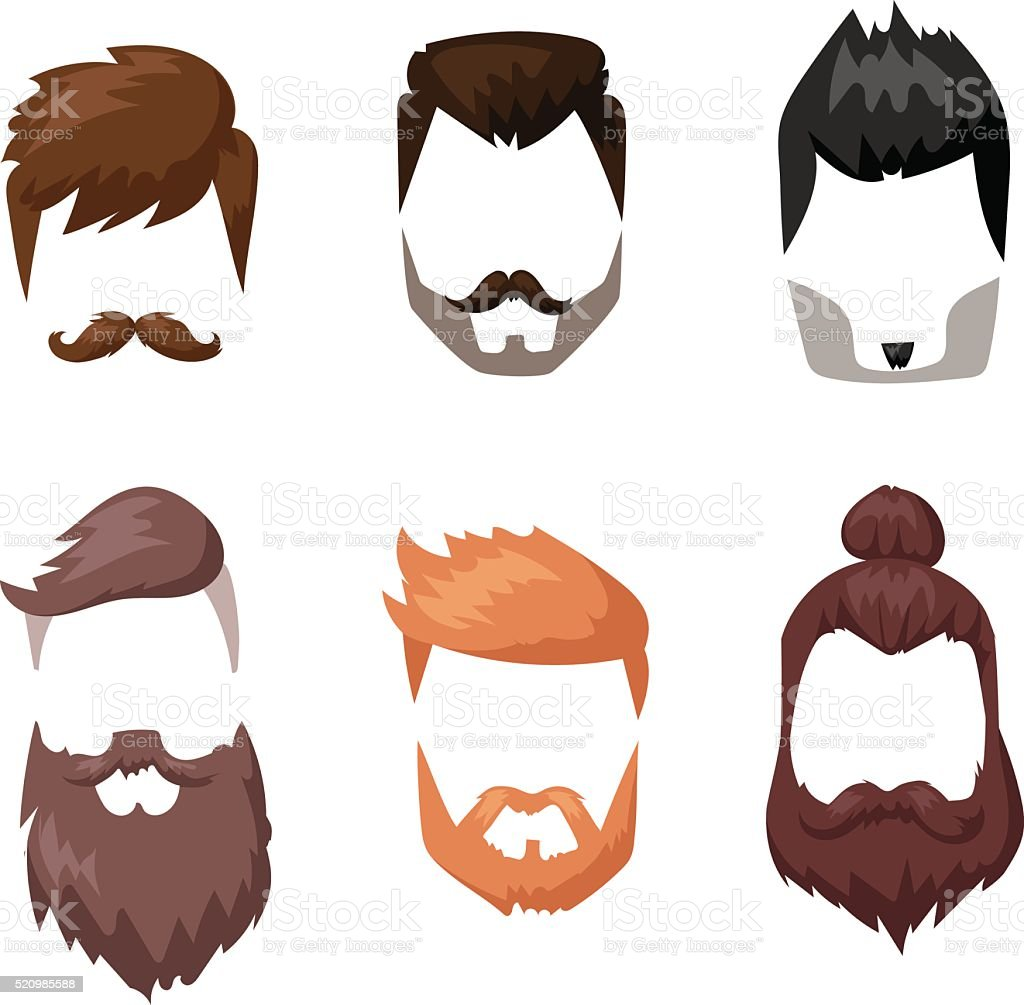 Peinados barba y pelo facial Mascarilla colección de dibujos animados de corte plano - ilustración de arte vectorial