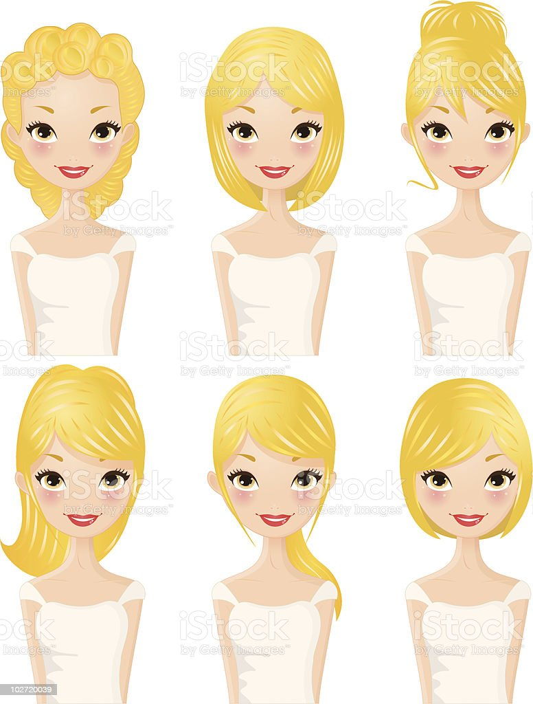 Hairstyles Blond hair royalty-free stock vector art