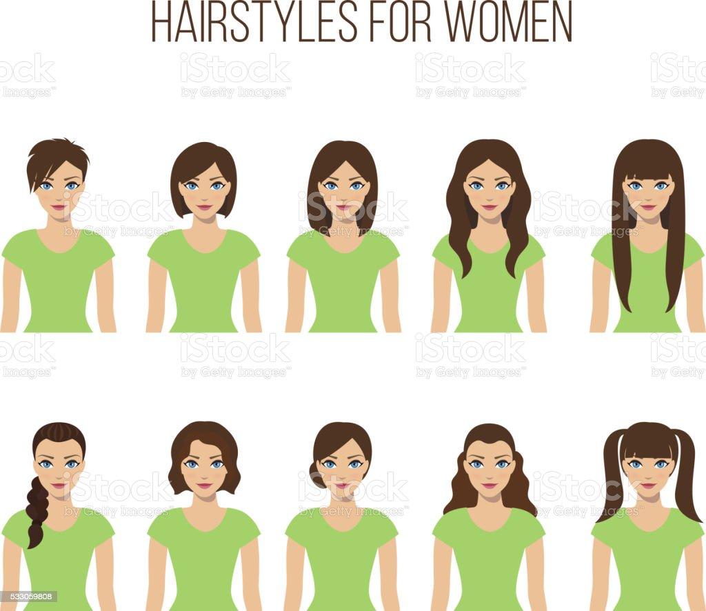 Hairstyles for women vector art illustration