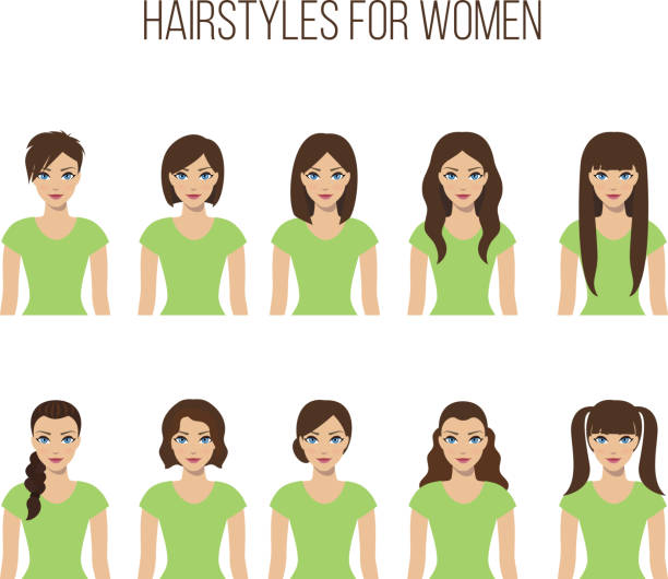 Hairstyles for women Set of hairstyles for women on a white background. Vector. bangs stock illustrations