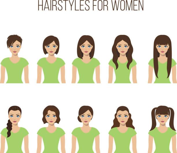 ilustraciones, imágenes clip art, dibujos animados e iconos de stock de peinados para mujeres - cabello castaño