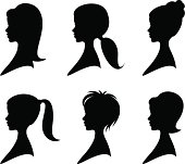 Female profiles with different hairstyles.