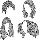 A vector collection of four hairstyles.