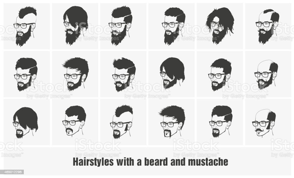 Hairstyle Vector: Hairstyles With A Beard And Mustache Wearing Glasses Full