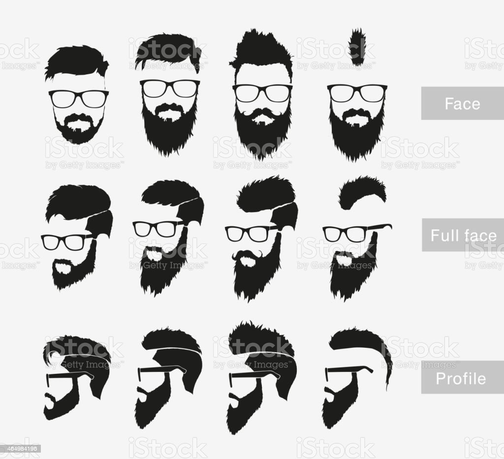 hairstyles with a beard in the face, full face vector art illustration
