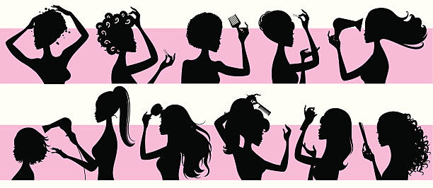 Hairstyling Girls vector art illustration