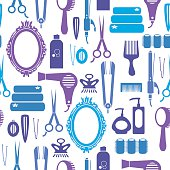A repeat pattern of hairstyling icons. See below for an icon set of this file.