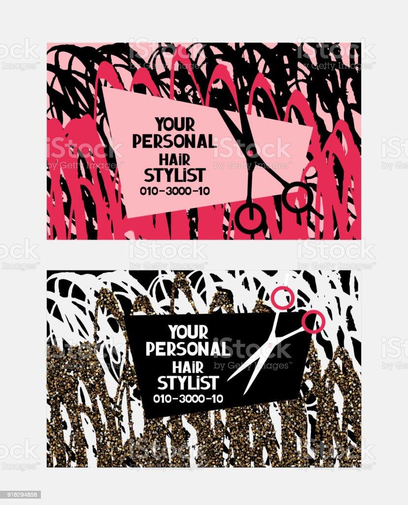 Cartes De Visite Abstraites Coiffeur Avec Les Ciseaux Et Cheveux La Femme