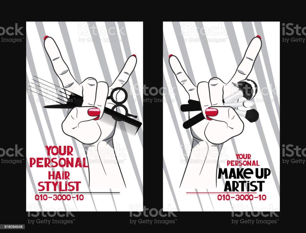 Friseur Und Makeup Artistvisitenkarten Mit Frau Hand