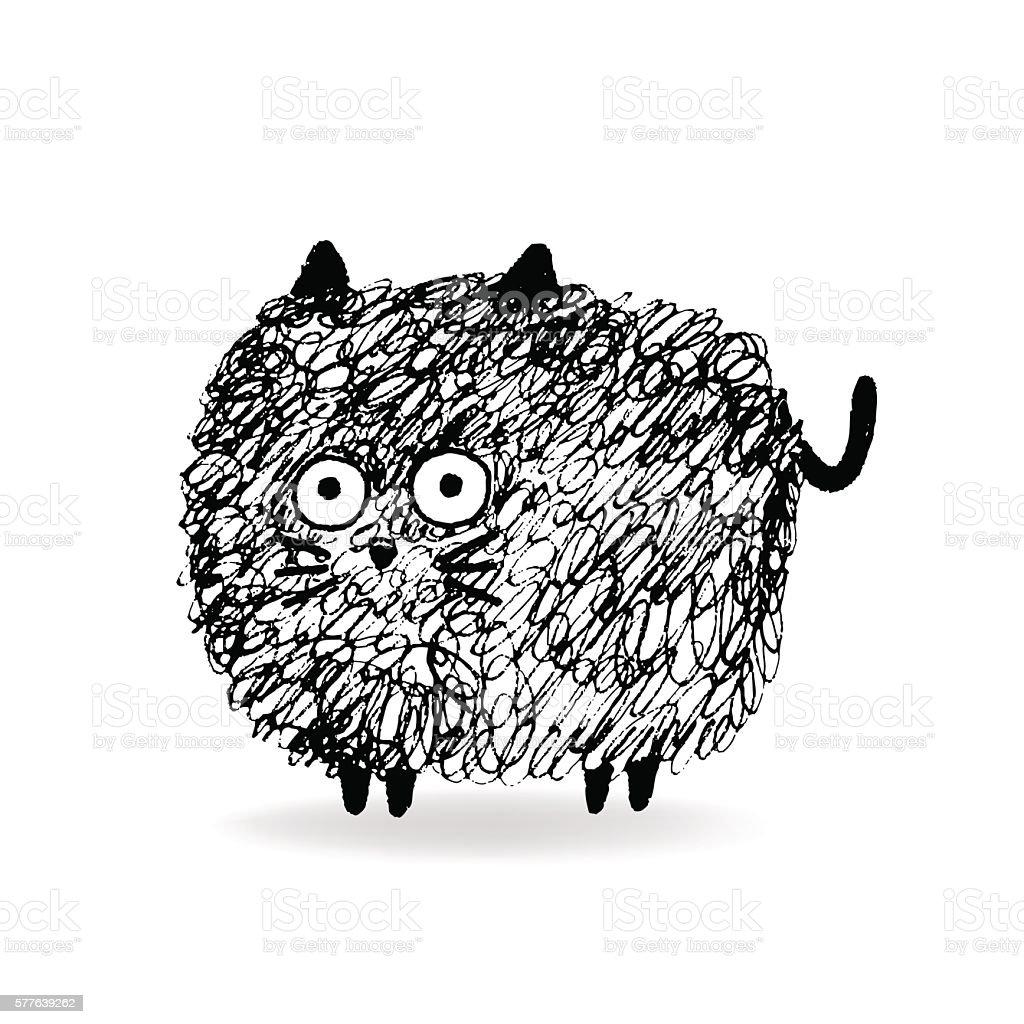 Hairy Cat sketch vector art illustration