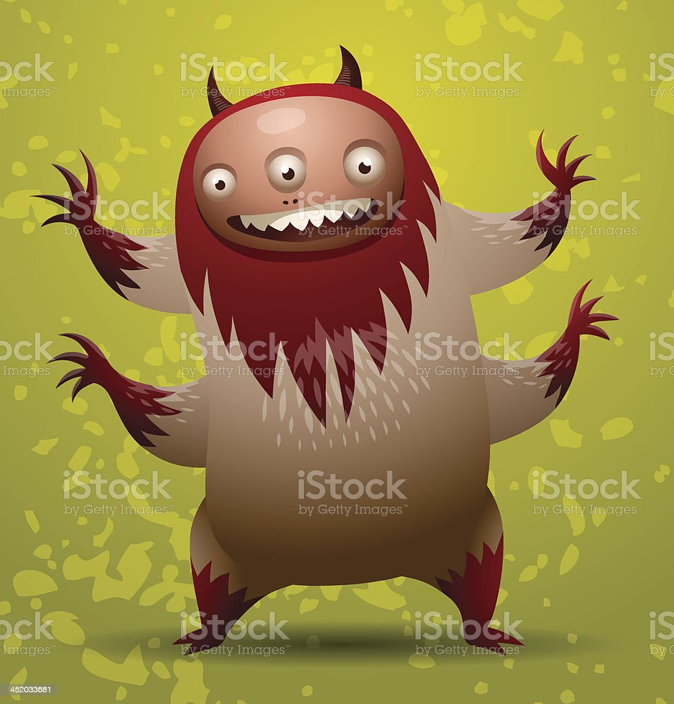 Hairy monster with red mane vector art illustration
