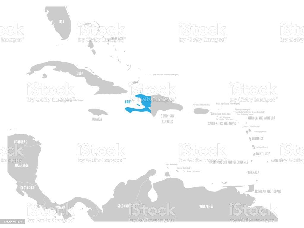 haiti blue marked in the map of caribbean vector illustration royalty free haiti blue