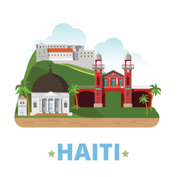 Haiti country design template. Flat cartoon style historic sight showplace web vector illustration. World vacation travel America collection. Citadelle Laferriere Marche de Fer Cathedrale de Milot. Haiti country design template. Flat cartoon style historic sight showplace web vector illustration. World vacation travel America collection. Citadelle Laferriere Marche de Fer Cathedrale de Milot. haiti stock illustrations