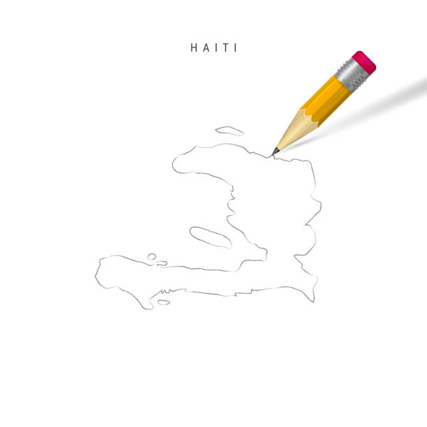 Haiti freehand pencil sketch outline vector map isolated on white background Haiti freehand pencil sketch outline map isolated on white background. Empty hand drawn vector map of Haiti. Realistic 3D pencil with soft shadow. drawing of a haiti map stock illustrations