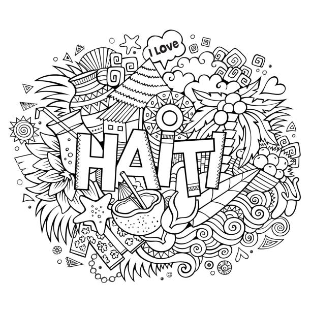 Haiti hand lettering and doodles elements Haiti hand lettering and doodles elements and symbols background. Vector hand drawn sketchy illustration haiti stock illustrations