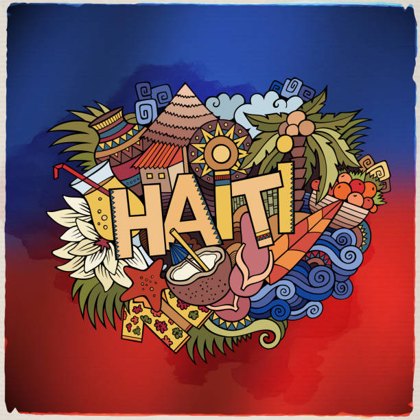 Haiti hand lettering and doodles elements Haiti hand lettering and doodles elements and symbols emblem. Vector blurred flag background haiti stock illustrations