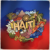 Haiti hand lettering and doodles elements