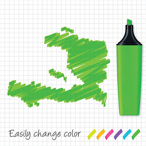 Haiti map hand drawn on grid paper, green highlighter Map of Haiti drawn with green highlighter, isolated on a squared paper sheet. Easily change color : yellow, orange, pink, purple, blue, green. drawing of a haiti map stock illustrations