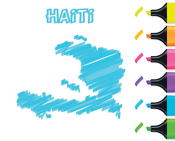 Haiti map hand drawn on white background, blue highlighter Map of Haiti drawn with blue highlighter, isolated on a blank background. Easily change color : yellow, orange, pink, purple, blue, green. drawing of a haiti map stock illustrations