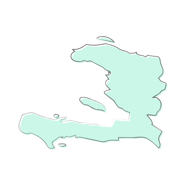 Haiti map hand drawn on white background - Trendy design Map of Haiti sketched and isolated on a blank background. The map is blue green with a black outline. Vector Illustration (EPS10, well layered and grouped). Easy to edit, manipulate, resize or colorize. drawing of a haiti map stock illustrations