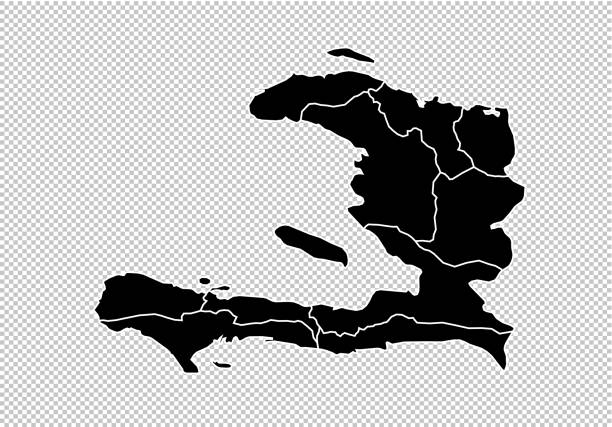 haiti map - High detailed Black map with counties/regions/states of haiti. haiti map isolated on transparent background. haiti map - High detailed Black map with counties/regions/states of haiti. haiti map isolated on transparent background. haiti stock illustrations