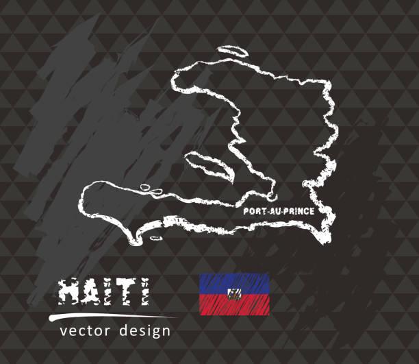 Haiti map, vector pen drawing on black background Honduras vector hand drawn sketch map drawing of a haiti map stock illustrations