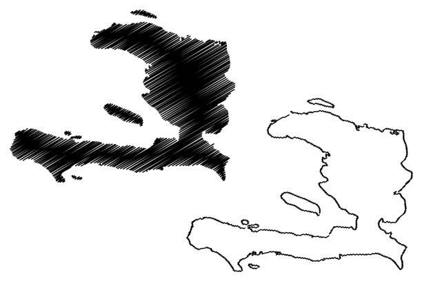 Haiti map vector Haiti map vector illustration, scribble sketch Haiti drawing of a haiti map stock illustrations