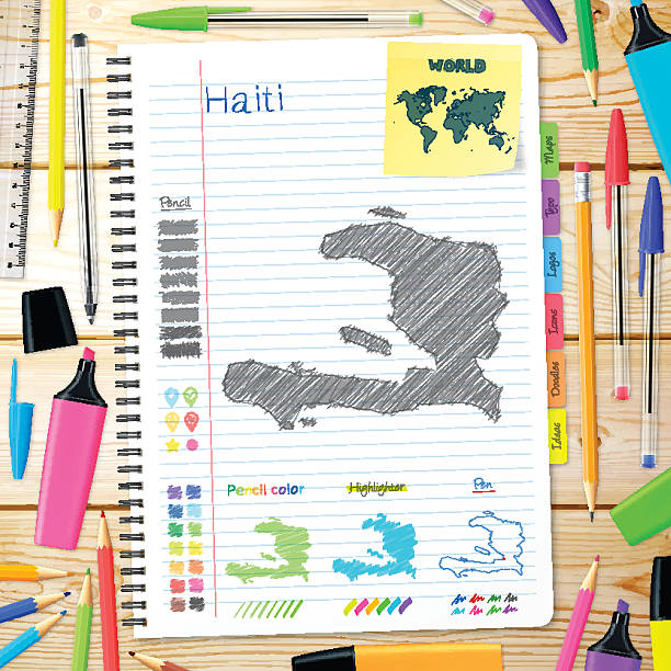 Haiti maps hand drawn on notebook. Wooden Background Map of Haiti hand drawn on notebook. Top view of a wooden desk with office supplies, notebook, ruler, pencil color, pen, various pencil, ballpoint pen, highlighter, sticky note. drawing of a haiti map stock illustrations