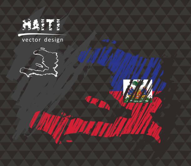 Haiti national vector map with sketch chalk flag. Sketch chalk hand drawn illustration Honduras vector hand drawn sketch map drawing of a haiti map stock illustrations