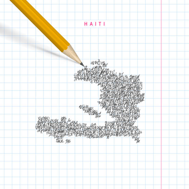 Haiti sketch scribble vector map drawn on checkered school notebook paper background Haiti sketch scribble map drawn on checkered school notebook paper background. Hand drawn vector map of Haiti. Realistic 3D pencil. drawing of a haiti map stock illustrations