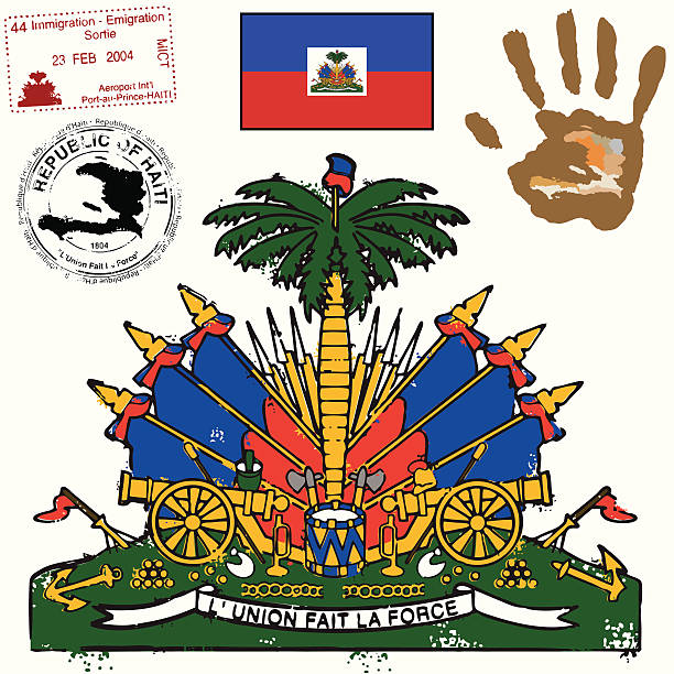 Haitian Flag Coat of Arms and graphic set  haiti stock illustrations