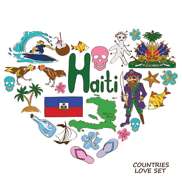 Haitian symbols in heart shape concept Colorful sketch collection of Haitian symbols. Heart shape concept. Travel background drawing of a haiti map stock illustrations