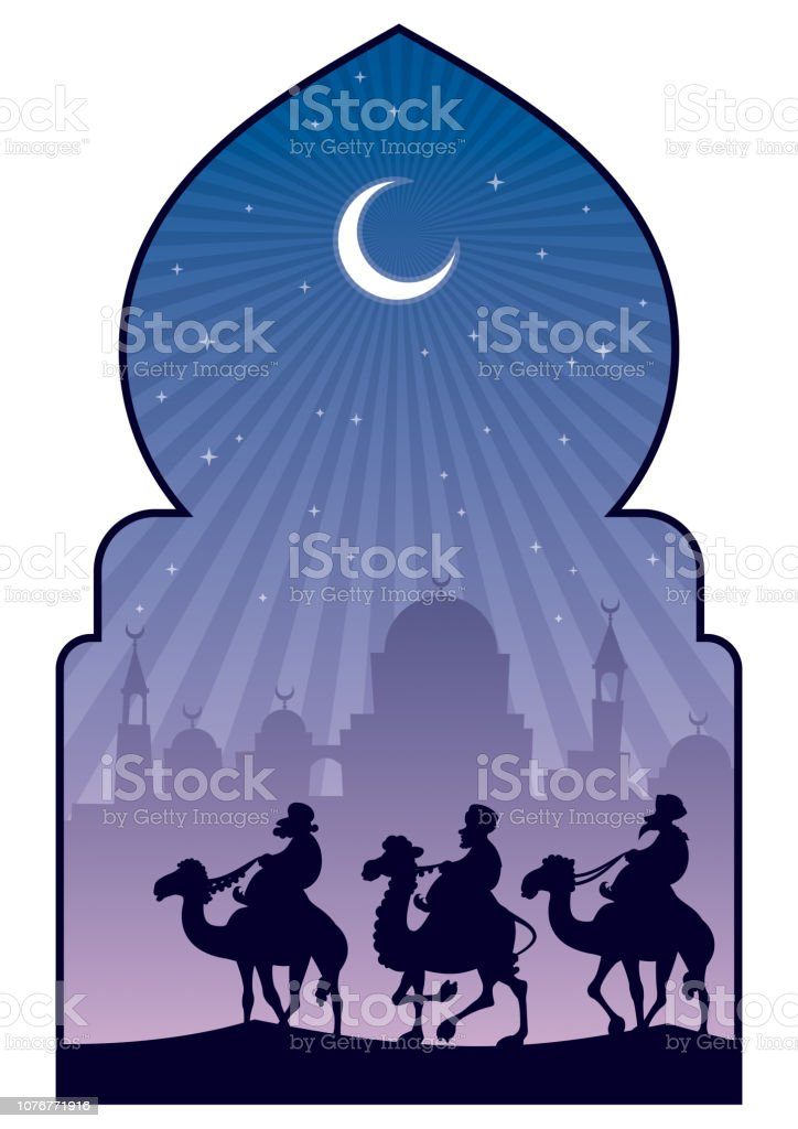Hajj Islamic Pilgrimage vector art illustration