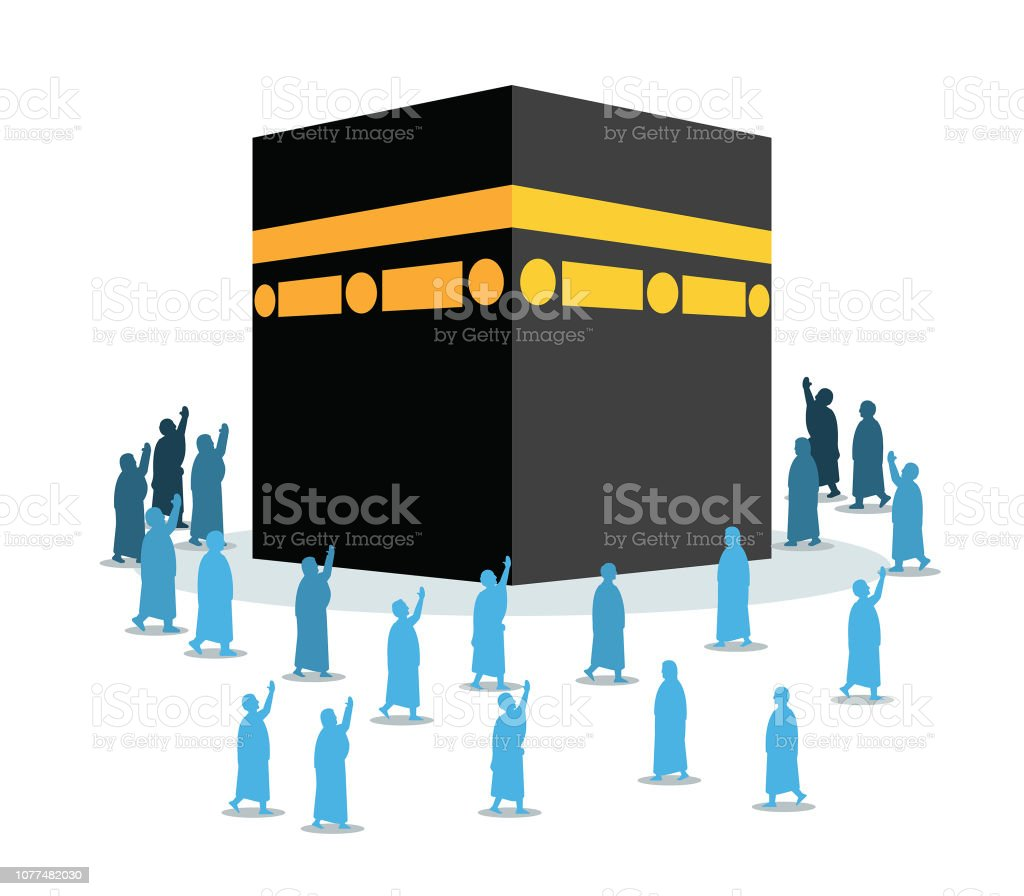 Hajj Pilgrimage Silhouette Walking Around Kaaba vector art illustration