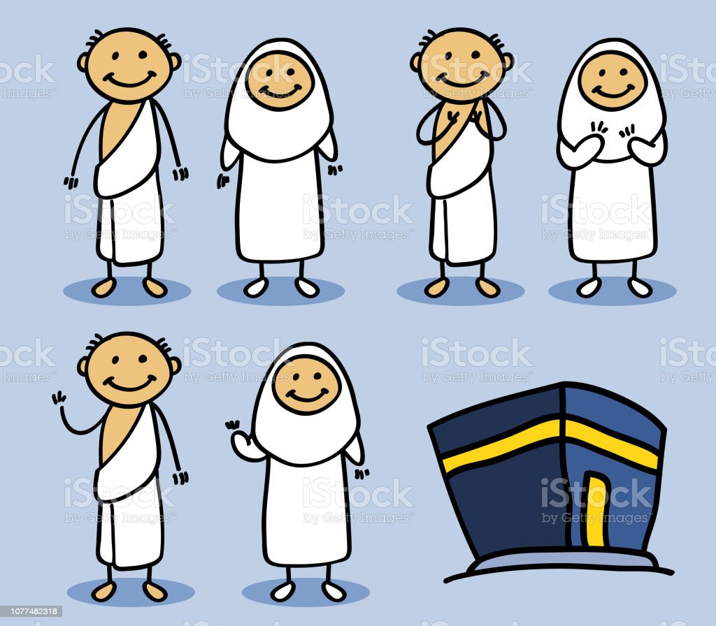 Hajj Pilgrimage Stick Character vector art illustration