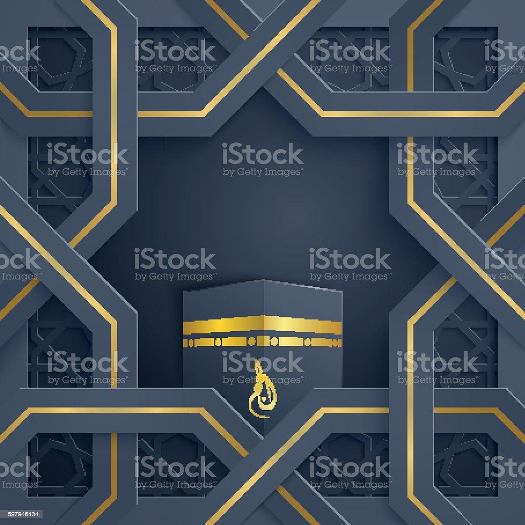 Hajj (pilgirmage) vector greeting card arabic ornament pattern with kaaba ilustração de hajj vector greeting card arabic ornament pattern with kaaba e mais banco de imagens de arábia royalty-free